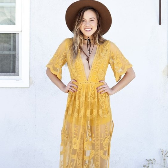c5d00aaf4ed1 Honey Punch Pants - Gold - Yellow Lace Maxi Romper by Honey Punch